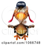 Clipart 3d Police Chicken Flying 3 Royalty Free CGI Illustration