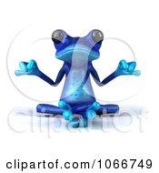 3d Blue Springer Frog Meditating 1