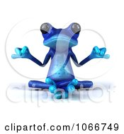 Clipart 3d Blue Springer Frog Meditating 1 Royalty Free CGI Illustration