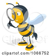 Clipart Bee Using A Magnifying Glass 2 Royalty Free Illustration