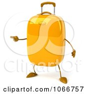 Clipart 3d Yellow Rolling Suitcase Pointing Royalty Free CGI Illustration