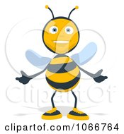 Clipart Cartoon Bee Welcoming Royalty Free Illustration