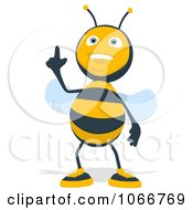Clipart Cartoon Bee Pointing Up Royalty Free Illustration