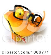 Clipart 3d Orange Snake With Glasses 2 Royalty Free CGI Illustration by Julos