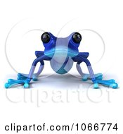 Clipart 3d Blue Springer Frog Royalty Free CGI Illustration