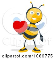 Clipart Bee Holding A Heart 1 Royalty Free Illustration