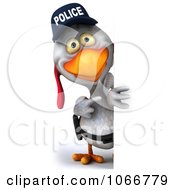 Clipart 3d White Police Chicken With A Sign 4 Royalty Free CGI Illustration