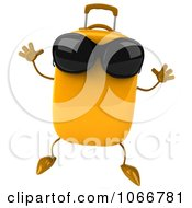 Clipart 3d Yellow Suitcase Wearing Shades And Jumping Royalty Free CGI Illustration