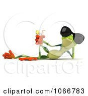 Clipart 3d Springer Frog Relaxing With Iced Tea Royalty Free CGI Illustration