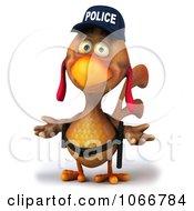 Clipart 3d Police Chicken Shrugging Royalty Free CGI Illustration