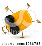 Clipart 3d Yellow Suitcase Wearing Shades And Doing A Cartwheel Royalty Free CGI Illustration