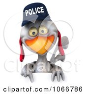 Clipart 3d White Police Chicken With A Sign 3 Royalty Free CGI Illustration