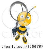 Clipart Bee Using A Magnifying Glass 3 Royalty Free Illustration