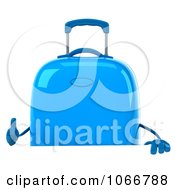 Clipart 3d Blue Rolling Suitcase Sign Royalty Free CGI Illustration