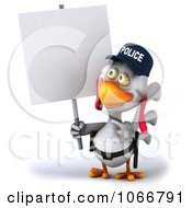 Clipart 3d White Police Chicken With A Sign 5 Royalty Free CGI Illustration