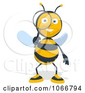 Clipart Bee Using A Magnifying Glass 1 Royalty Free Illustration