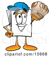 Clipart Picture Of A Paper Mascot Cartoon Character Catching A Baseball With A Glove by Toons4Biz