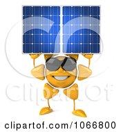 3d Sun Guy Holding A Solar Panel