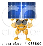 Clipart 3d Sun Guy Holding A Solar Panel Royalty Free CGI Illustration
