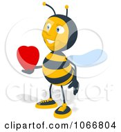 Clipart Bee Holding A Heart 2 Royalty Free Illustration