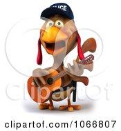 Clipart 3d Police Chicken Guitarist 4 Royalty Free CGI Illustration