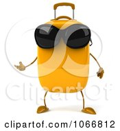 Clipart 3d Yellow Suitcase Wearing Shades And Gesturing Royalty Free CGI Illustration