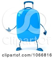 Clipart 3d Blue Rolling Suitcase Gesturing 1 Royalty Free CGI Illustration