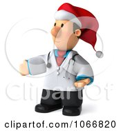 Clipart 3d Christmas Toon Guy Doctor Presenting Royalty Free CGI Illustration