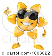 Clipart 3d Sun Guy Holding A Finger Up Royalty Free CGI Illustration