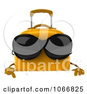 Clipart 3d Thumbs Up Yellow Suitcase Wearing Shades With A Sign Royalty Free CGI Illustration