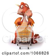 Clipart 3d Red Dragon Shopping 1 Royalty Free CGI Illustration