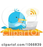 Clipart Bluebird Blogging On A Laptop Royalty Free Vector Illustration by Qiun