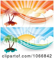 Clipart Orange And Blue Tropical Island Website Banners Royalty Free Vector Illustration by MilsiArt