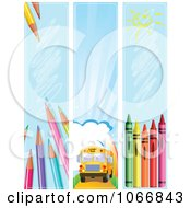 Clipart Back To School Vertical Website Banners Royalty Free Vector Illustration