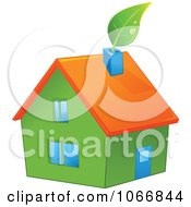 Clipart Green House With An Orange Roof Royalty Free Vector Illustration by Pushkin