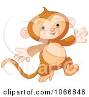 Clipart Cute Baby Monkey Running Royalty Free Vector Illustration