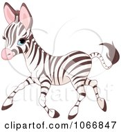 Clipart Cute Baby Zebra Running Royalty Free Vector Illustration by Pushkin