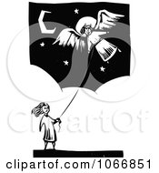 Clipart Girl Flying An Angel Kite Royalty Free Vector Illustration by xunantunich