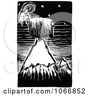 Clipart Goat On Top Of A Mountain Royalty Free Vector Illustration