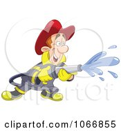 Clipart Happy Fireman Using A Hose Royalty Free Vector Illustration