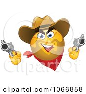 Clipart Western Cowboy Emoticon Shooting Royalty Free Vector Illustration