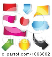 Clipart Colorful Stickers In Different Shapes Royalty Free Vector Illustration