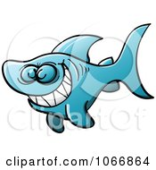 Clipart Blue Naughty Shark Grinning Royalty Free Vector Illustration by Zooco