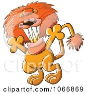 Clipart Greeting Lion With Open Arms Royalty Free Vector Illustration by Zooco