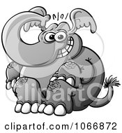 Clipart Nervous Elephant Sitting Royalty Free Vector Illustration by Zooco