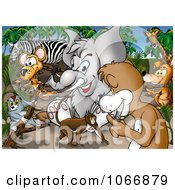 Clipart Crowd Of Safari Animals Royalty Free Illustration