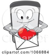 Cell Phone Character With A Love Letter