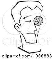 Clipart Male Photographer With A Lens Eye Royalty Free Vector Illustration