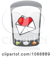 Clipart Cell Phone With A Love Letter Royalty Free Vector Illustration