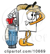Clipart Picture Of A Paper Mascot Cartoon Character Swinging His Golf Club While Golfing by Toons4Biz